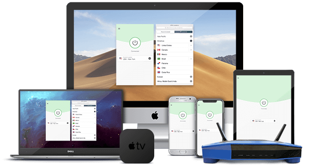 ExpressVPN on laptop, desktop, router, Android, iPhone, iPad, and Apple TV.