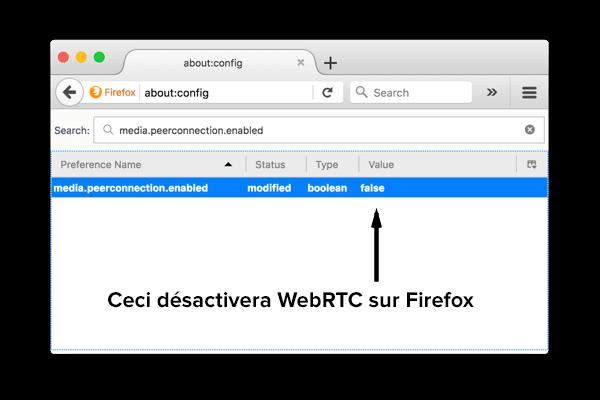 Comment désactiver WebRTC dans Firefox sur ordinateur