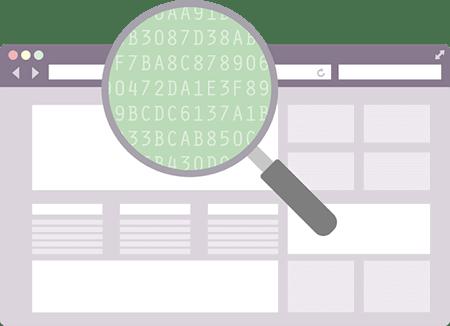 Lupe über einem Browser: Ein VPN versteckt Ihre IP und verschlüsselt Ihre Daten, so dass niemand an Ihnen herumschnüffeln kann.