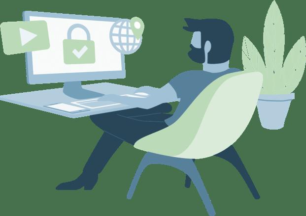 VPN-Benutzer an einem Arbeitsplatz, der sicher surft, Inhalte entsperrt und seinen Standort wechselt.