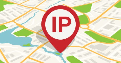 A pointer icon labeled IP, indicating a user's location on a map.